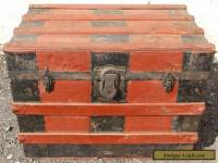 ANTIQUE FLAT TOP STEAMER TRUNK WOOD STAVE TRAVEL TREASURE CHEST ~ COFFEE TABLE!~
