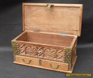 Wooden flower carved box with drawers and brass detailing Indian?  for Sale