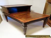 Antique 1940's vintage decorative wooden 2 tier step end table faux leather top