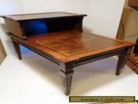 Antique 1940's vintage decorative wooden 2 tier step end table faux leather top