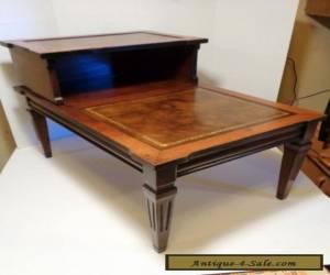 Antique 1940's vintage decorative wooden 2 tier step end table faux leather top for Sale
