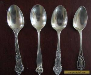 Four Different Sterling Silver Tea Spoons for Sale