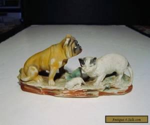 Old Antique Bisque Ceramic Bulldog Cat & Rat Figurine Scupture for Sale