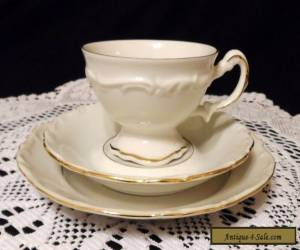 "Vintage Porcelain Hertel Jacob "" Margaret "" Trio Tea Cup Saucer Dessert Plate -  for Sale"