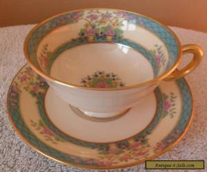Vintage Lenox MONTICELLO art deco floral pattern and blue bands cup and saucer  for Sale
