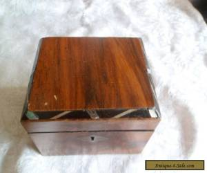 Wooden box with mother of pearl decoration around the edge for Sale