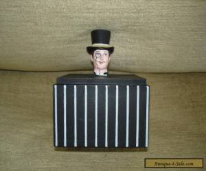 Victorian Gentleman With Top Hat And Monocle Wooden Storage Box Victoriana for Sale