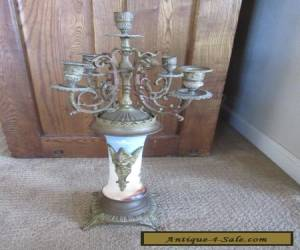 """Beautiful ANTIQUE French Bronze & Porcelain Candelabra Large 23"""" tall Ornate Old for Sale"""