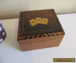 inlaid wooden playing card box  c1900? for Sale