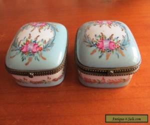 Pair of  Vintage turquoise hand painted porcelain boxes  10x10cm for Sale