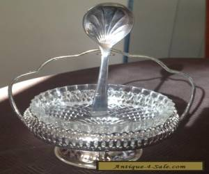 Vintage Mayell Silver Condiment Set - Glass Insert and Spoon for Sale