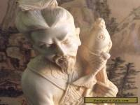 Antique Signed Ivory Colored Korean Fisherman Statue.