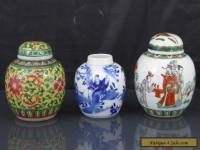 Three Antique Chinese 19th C Blue & White / Famille Verte Tea Caddys / Jars