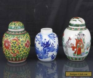 Three Antique Chinese 19th C Blue & White / Famille Verte Tea Caddys / Jars  for Sale