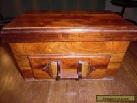 ANTIQUE WOOD JEWELRY BOX WITH DRAWER - LARGE