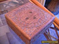 Hand carved wooden box with brass inlay