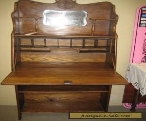 Antique Ladies Oak Drop Front Desk Larkin Style EC for Sale