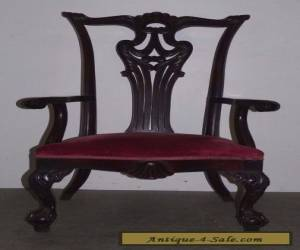 Vintage Antique Chippendale Style Mahogany High Back Arm Dining Chair 012601 for Sale