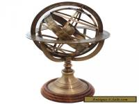 Vintage Desk Antique Brass Armillary Sphere Engraved World Globe Table Armillary