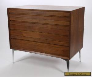 Mid Century Modern 4-Drawer Chest W Tapered Chrome Legs Walnut Vintage Furniture for Sale
