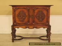 F39874: Vintage 1920 s Carved 2 Door Walnut Bar Cabinet
