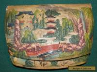 ANTIQUE ASIAN PAINTED AND EMBOSSED LEATHER CLUTCH WITH ELEPHANTS