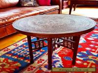 Antique Vintage Indian Arabic Brass Embossed Table top & Indian Carved Legs