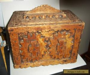 VINTAGE WOODEN BOX MAY WHAT WE CALL TRAMP ART STYLE THINK ? for Sale