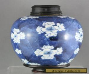 Very Fine Antique Chinese Hand Painted Porcelain Jar Carved Wooden Lid  c1890s for Sale