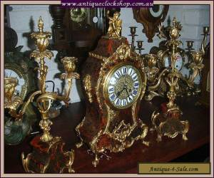 TOP QUALITY FRENCH BOULLE CLOCK/CANDELABRA SET Ca 1870 for Sale