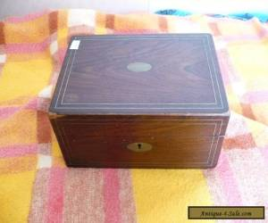vintage rosewood box inlayed with brass stringing for Sale