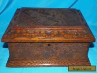 ANTIQUE VICTORIAN ARTS AND CRAFTS HAND CARVED OAK GENTELMENS STORAGE BOX