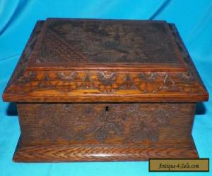 ANTIQUE VICTORIAN ARTS AND CRAFTS HAND CARVED OAK GENTELMENS STORAGE BOX  for Sale