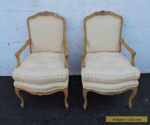 Pair of Large Vintage French Carved Living Room Side by Side Chairs 7575 for Sale