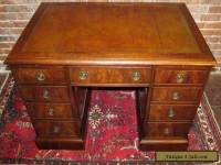 19TH CENTURY GEORGIAN STYLE MAHOGANY PARTNERS DESK WITH LEATHER TOP