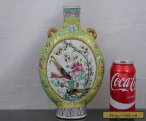 Quality Antique Chinese 19th C Yellow Warriors & Birds Moon Flask Vase - Signed for Sale