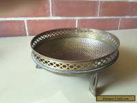 ART DECO ANTIQUE  BRASS METAL ROUND FRUIT BOWL  HAND BEATEN THREE LEGS