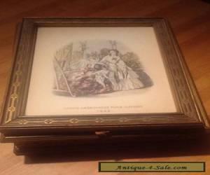 Vintage Wooden framed Picture Dresser Box with Mirror&Dividers inside for Sale