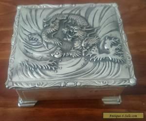 Antique Japanese silver cigarette box for Sale