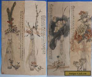 4PCS Large Rare Beautiful Chinese Hand Paintings Marked CaoMingRan WJ126 for Sale