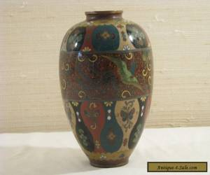Antique Japanese Cloisonne Vase with Phoenixes and Goldstone for Sale
