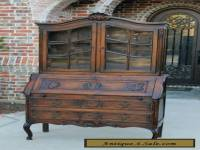 Antique French Oak Louis  XV Style Secretary Fall Front Desk Bookcase Cabinet