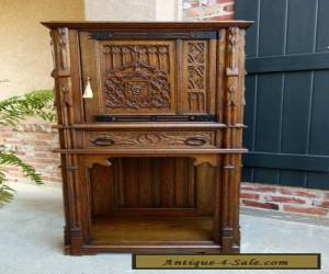 Antique French Carved Tiger Oak Gothic Cabinet Flatware Chest Revival Sideboard for Sale