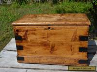 ANTIQUE 19TH CENTURY FRENCH COUNTRY PRIMITIVE HANDMADE BLANKET TRUNK