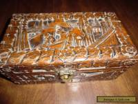 ANTIQUE STORAGE BOX LARGE WITH CARVED WOOD