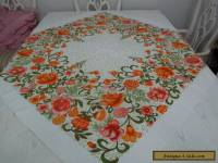 VINTAGE BARKCLOTH SQUARE TABLECLOTH>RETRO>1960's124 cms Square>GOOD COND