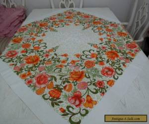 VINTAGE BARKCLOTH SQUARE TABLECLOTH>RETRO>1960's124 cms Square>GOOD COND for Sale