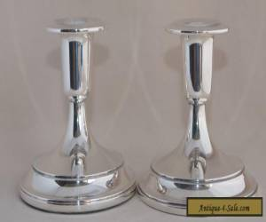 Pair of WHITEHILL Silver Plate Squat Candle Stick Holders for Sale