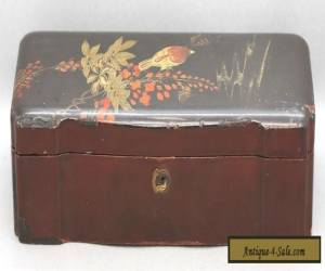 Stunning Antique Japanese Lacquered Wooden Treasure Box w/Hand Painted Motif for Sale