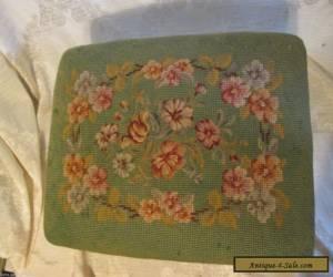 Antique/Vintage Victorian Style Footstool Green Floral Needlepoint Carved Frame for Sale